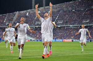 Justin Meram Celebrates After Scoring His Second International Goal
