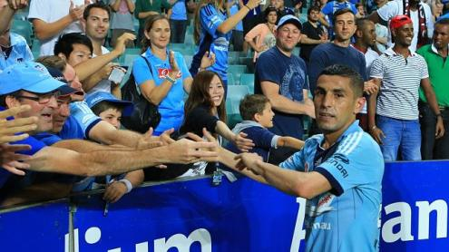 Ali Abbas thanks the Sydney FC fans after the Sydney FC v Western Sydney Wanderers A League game at Allianz Stadium, Sydney. pic Mark Evans